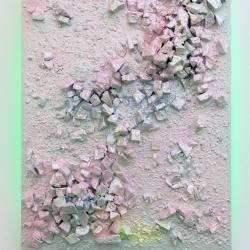 Hi! I'm So Glad You're Here!,  plaster, jesmonite, paint and LED lights on board, 100x80cm, Adham Faramawy, 2014, £4,500